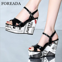 FOREADA Natural Genuine Leather Sandals platform Wedges Heel Shoes Buckle Strap Extreme High Heels Open Toe Female Party Sandals 14cm high heel sandals female platform open toe cool boots wedges