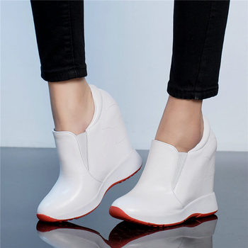 Fashion Sneakers Women Genuine Leather Wedges High Heel Vulcanized Shoes Female Round Toe Platform Pumps Shoes Low Top Loafers