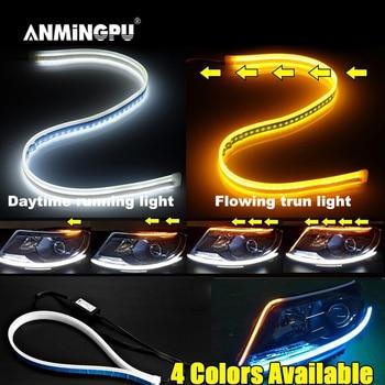 цена на ANMINGPU 2x Bright DRL LED Daytime Running Light Flexible Guide Sequential DRL LED Strip Turn Signal Light Yellow for Headlight