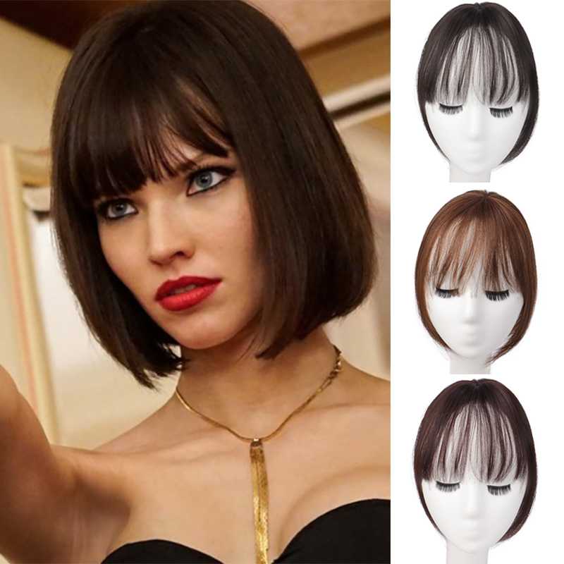 DIANQI two styles female natural color straight hair bangs top closures hairpins synthetic hair clip on wig hairpieces