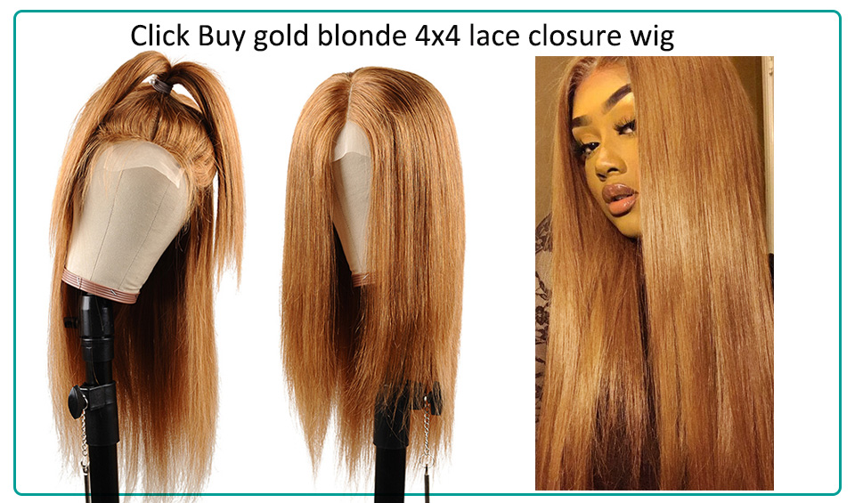 H0515e9a81062412f95f37d70fd7c18e2O #30 Gold Blonde Lace Front Human Hair Wigs Brazilian Straight 13*4 Lace Front Wig PrePlucked Baby Hair Colored Lace Wigs NonRemy