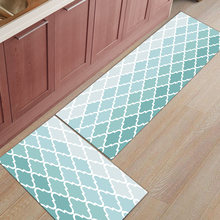 2Pcs/Set Geometric Blue Green Gradient Turquoise Kitchen Accessories Door Mat Tapete Doormats Carpet Room Floor Mats Home Rugs(China)