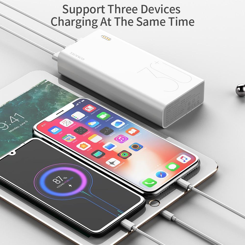 ROMOSS Sense 8+ Power Bank 30000mAh QC PD 3.0 Fast Charging Powerbank 30000 mAh External Battery Charger For iPhone Xiaomi Mi 5