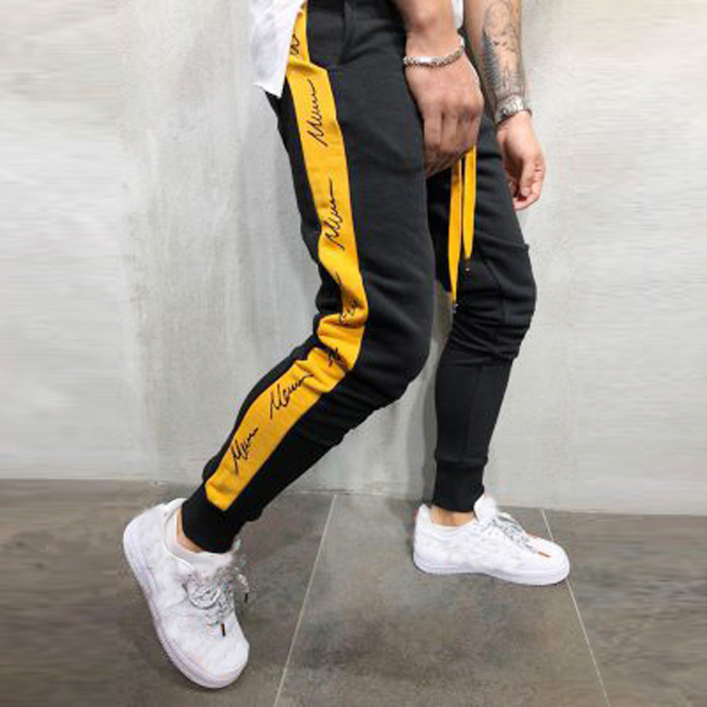 Mens Pants Trouser Joggers Drawstring Patchwork Comfortable Winter Casual New Autumn title=