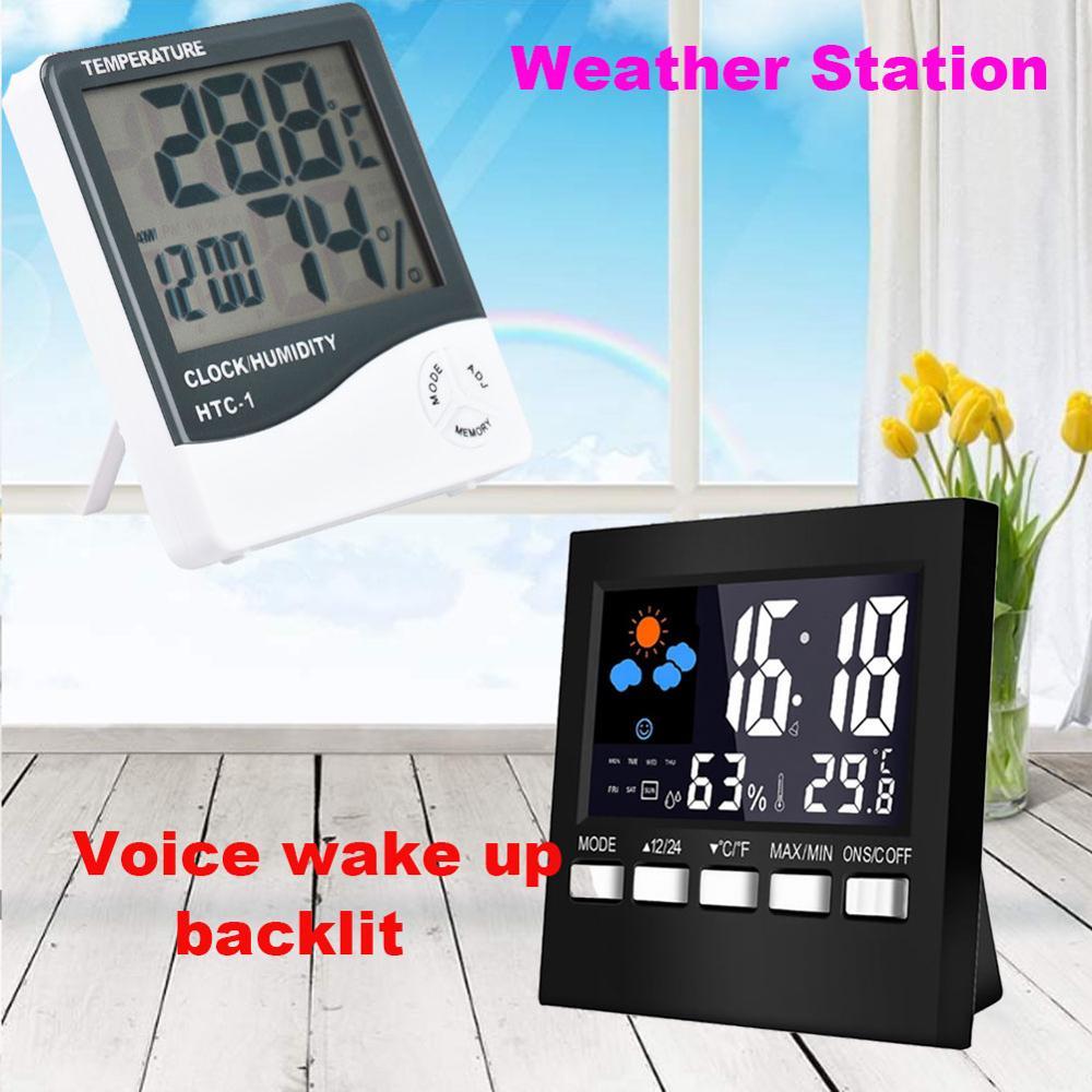 HTC-1 Mini Digital LCD Indoor Temperature Sensor Humidity Meter Thermometer Hygrometer Gauge Electronic Weather Station Clock
