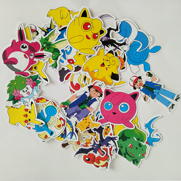 2019 Pikachu Cartoon Stickers Skateboard Laptop Luggage Car Sticker Cosplay Prop Accessories 38 Pcs