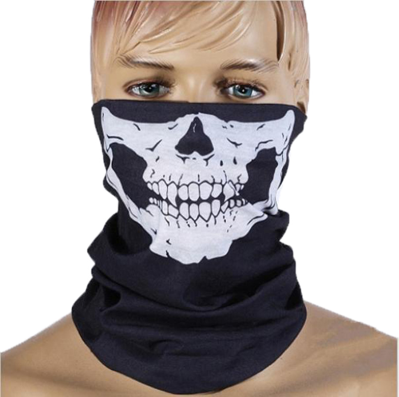 Halloween Bandanas Windproof Skeleton Skull Scarf Neck Half Warmer Face Mask Ghost Scarves for Outdoor Sports Climbing Hiking