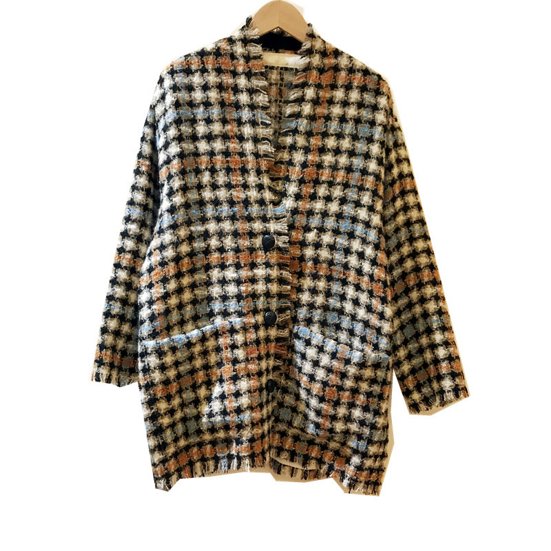 Image 5 - Women Sweater2019 Autumn and Winter Small Fragrance Wind Tweed Wool Blend Retro Check Coat CardiganPullovers