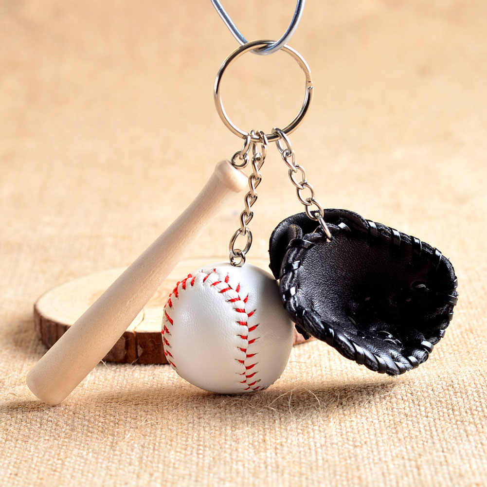 Fashion Mini Personality Baseball Glove Wooden Bat Charms Keychain Cute Key Chain Key Ring Gift For Man Women