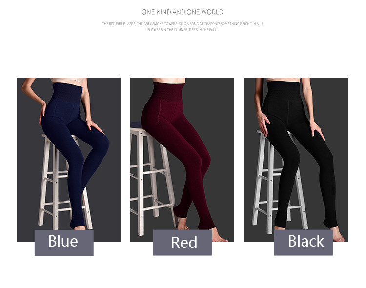 H051639492b6e46b997bd9ac810bf739dP - Feilibin Winter Women Leggings Thick Winter Warm Pants High Waist Slimming Thicken High Elastic Women's Warm Velvet Leggings