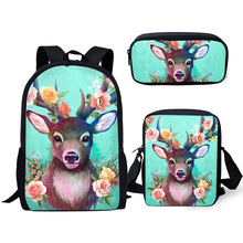 HaoYun 3PCs Set Kids School Backpack Fantasy Deer Pattern Book Bag Cute Animal Prints Students Backpack/Flaps Bag/Pen