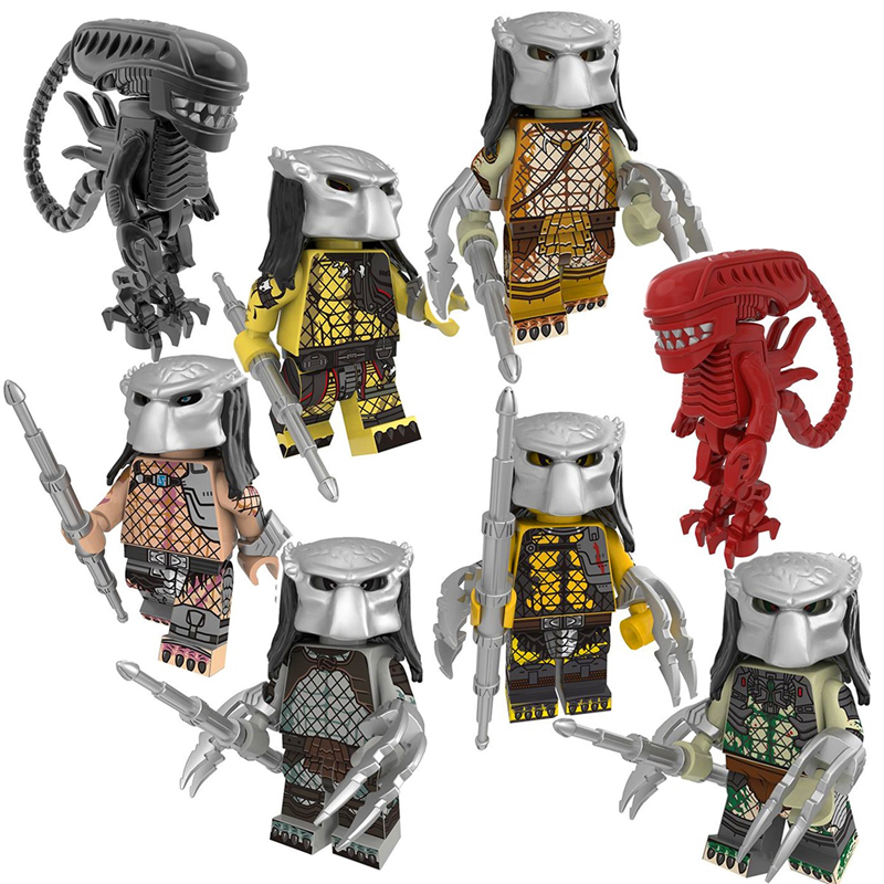 8Pcs/Set Heroes Alien Predator The God Of War Drax The Destroyer Model Building Block Toys Gift Compatible Technic PG8254
