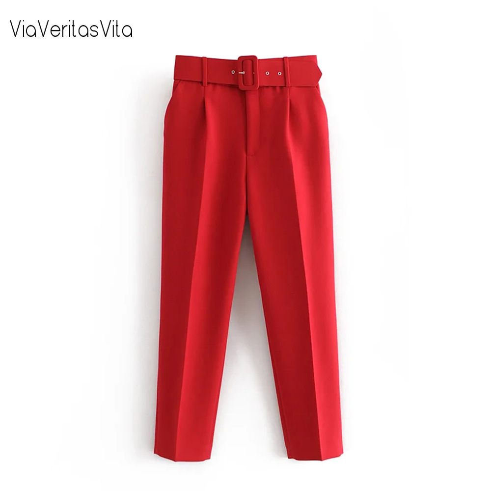 New Womens Winter thick Pants Trousers high waist casual solid office Pant with belt zoravicky straight Pants Sweatpant Capris