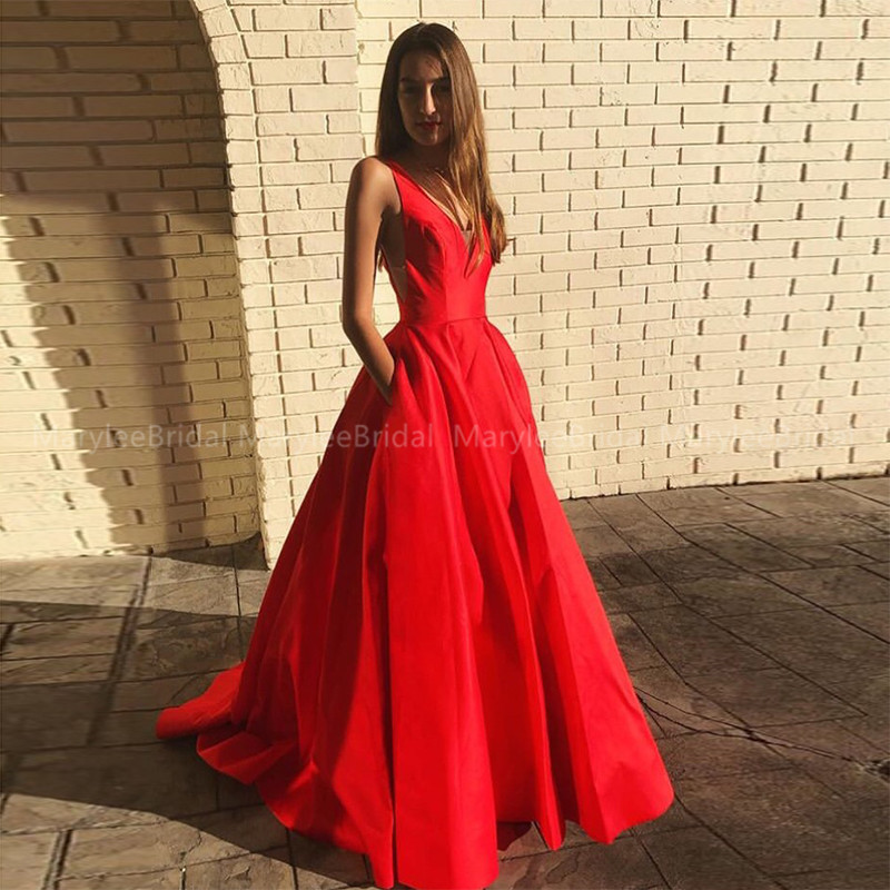 Simple V-neck Long Prom Dress With Pockets A-line Vestidos De Gala Red Satin Girls Graduation Ceremony Long Prom Party Gowns