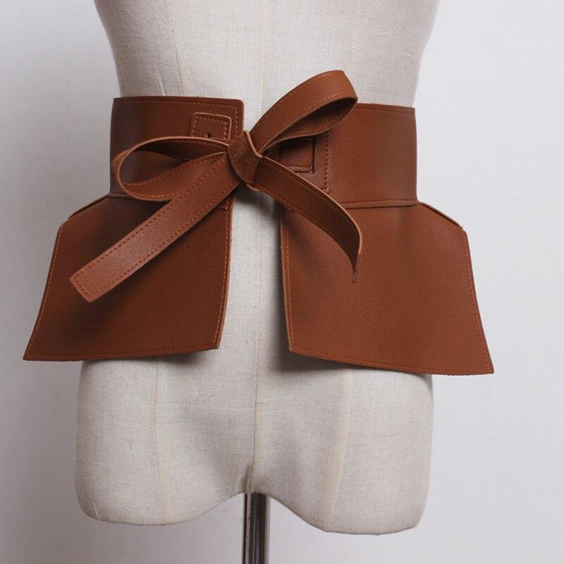 Vintage Woman Belt Spring Solid Color Black Red Pu Leather Bow Tide Belts 2020 Female Fashion Bowknot Clothing Dress Belt