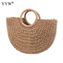 Straw Handmade Weave Handbag For Women 2020 Large Capacity Moon Beach Bags Female Casaul Behomian Summer Handbags Bolso Mujer