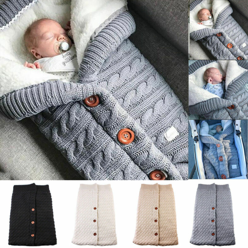 Newborn Baby Warm Sleeping Bags Winter Infant Button Knit Swaddle Wrap Swaddling Stroller Wrap Toddler Blanket Sleeping Bags