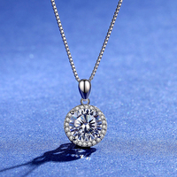 BOEYCJR 925 Silver 3ct F color Moissanite VVS Engagement Elegant Wedding Pendant Necklace for Women Anniversary Gift