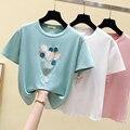 Gkfnmt Sommer Rosa T shirt Frauen Tops Kawaii Stickerei Weiß T-shirt Frauen Koreanische Kleidung Kurzarm Casual T shirt Femme