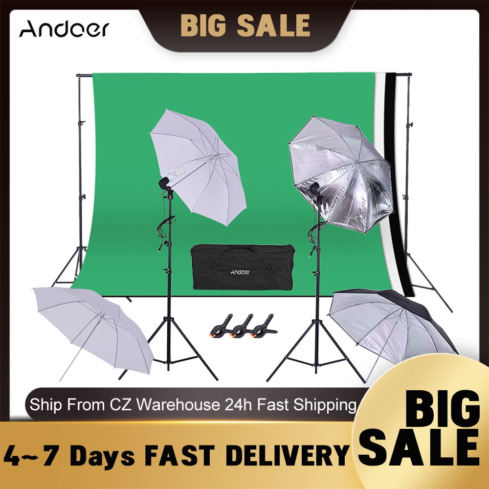 Andoer Backdrop Support System Studio Lighting Kit Background Stand for Portrait Product Video Shooting Photography Studio Kits