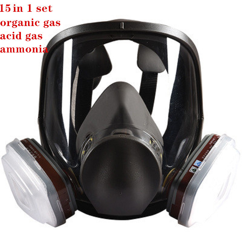 15 In 1 Gas Mask 6800 Paint Spraying Full Respirator Organic Gas Acid Vapors Support 3M 6000s Filter Chemical Industy Protection