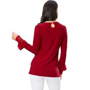 Image 4 - YTL женская блузка, осенняя, красная, с o образным вырезом и алмазным украшением, с рукавами фонариками, повседневная, для свадьбы, большие размеры 7XL 8XL H270