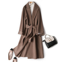 Cashmere-Coat Wool-Coat Coffee-Color Strend Double-Sided Loose Bornladies Korean-Version