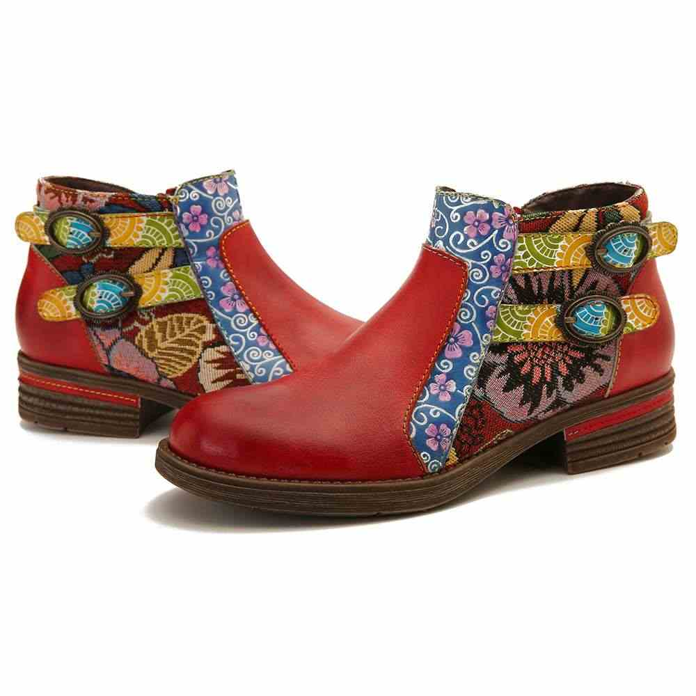 SOCOFY Women Retro Splicing Ankle Boot Genuine Leather Zipper Casual Block Shoes
