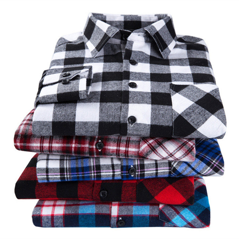 Flannel Men Plaid Shirt Slim Fit Casual Long Sleeve Sanding Shirt Spring Autumn Male Social Dress Shirts Soft Comfort 4XL 3XL 1