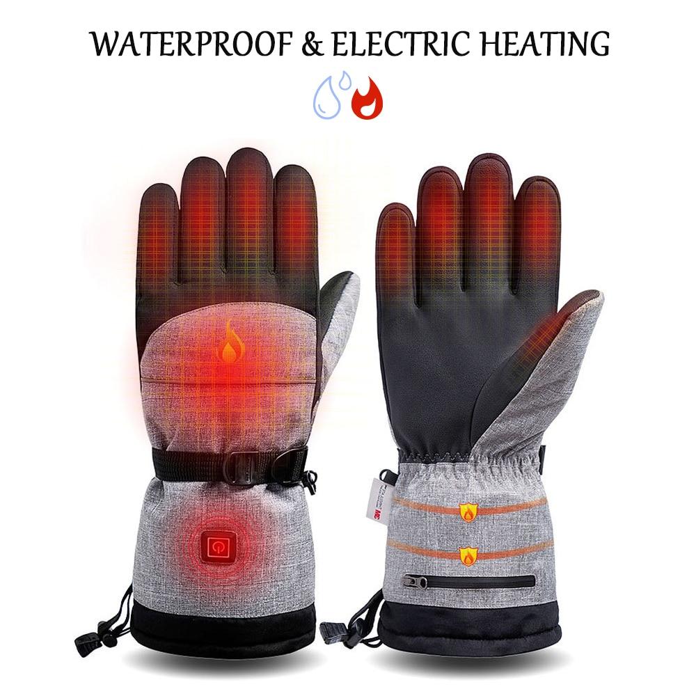 Перчатки с электрическим подогревом, 3 уровня нагрева, водонепроницаемые зимние теплые лыжные перчатки для сноуборда, велосипедные мотоцик...
