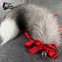 40-100cm Fox Tails Anal seks zabawki korki szary duży prawdziwy srebrny Sexy Anime wilk Cosplay Metal Butt Plug para erotyczne Drop Shipping