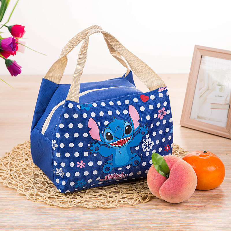Disney Cartoon Insulation Bag Stitch Cute Box Bag Lunch Barbecue Plush Doll  Handbag Outdoor Ice Tote Bag