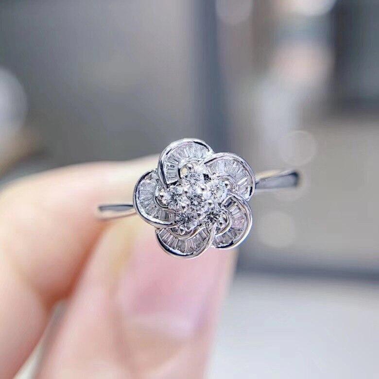 0.25CT forme ronde 18K or blanc diamants bague de fiançailles couleur or blanc qualité garantie bague de mariage douce