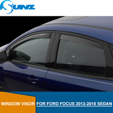 цена на for FORD FOCUS 2012-2018 Black Window Visor deflector Rain Guard for FORD FOCUS 2012  2013 2014 2015 2016 2017 2018 SEDAN SUNZ