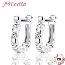 MISSITA 100% 925 Sterling Silver Crystal Harp Earrings For Women Fashion Jewelry Girlfriend Party Gift Hot Sale