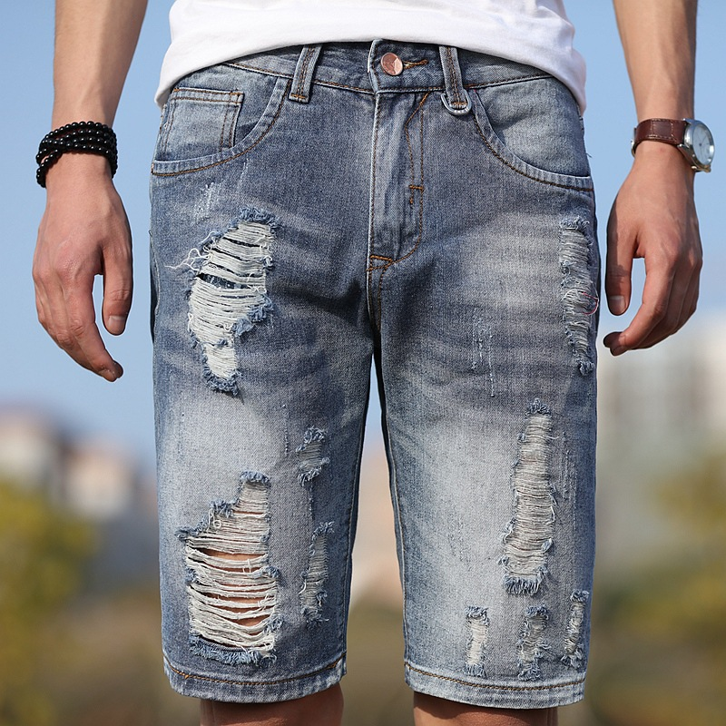 2019 Summer New Style With Holes Retro Denim Shorts Men's Teenager Students Cool Versatile Shorts Ripped Jeans