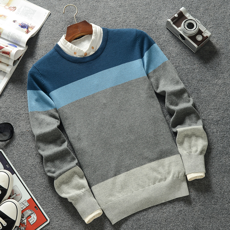 2019 New Casual Pullover Men Spring Round Neck Patchwork Quality Knitted Brand Male Sweaters Plus Size 3XL Mens Sweater 5
