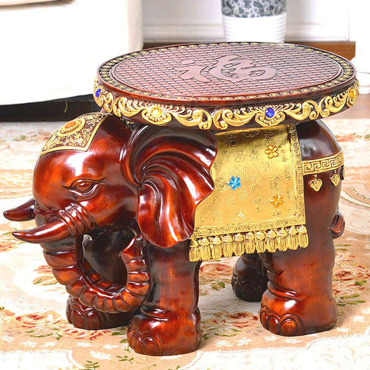 New Elephant Change Shoe stools Resin Cartoon Children's Stool Carving Fine Craft Ornaments Office Home Decorations Wooden Bench|Stools & Ottomans| |  - title=