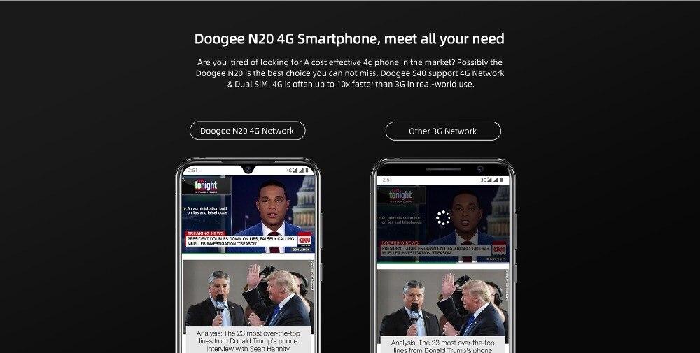 H05174f63dd5b4d1695141b93c21773f6F DOOGEE N20 New 2019 Smartphone 6.3inch FHD+ Display 4350mAh 4GB+64GB Octa Core 10w charge Fingerprint 16MP Triple Back Camera