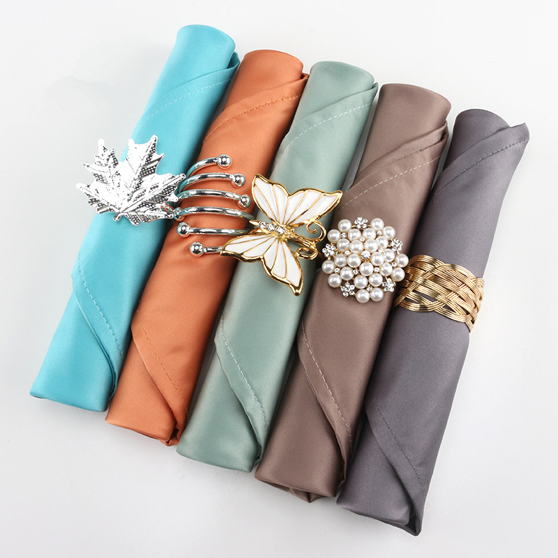 2019 Fashion Light Luxury Solid Napkin Hotel Restaurant Square Towel Table Napkin Ring Western Napkin Matching In Colour