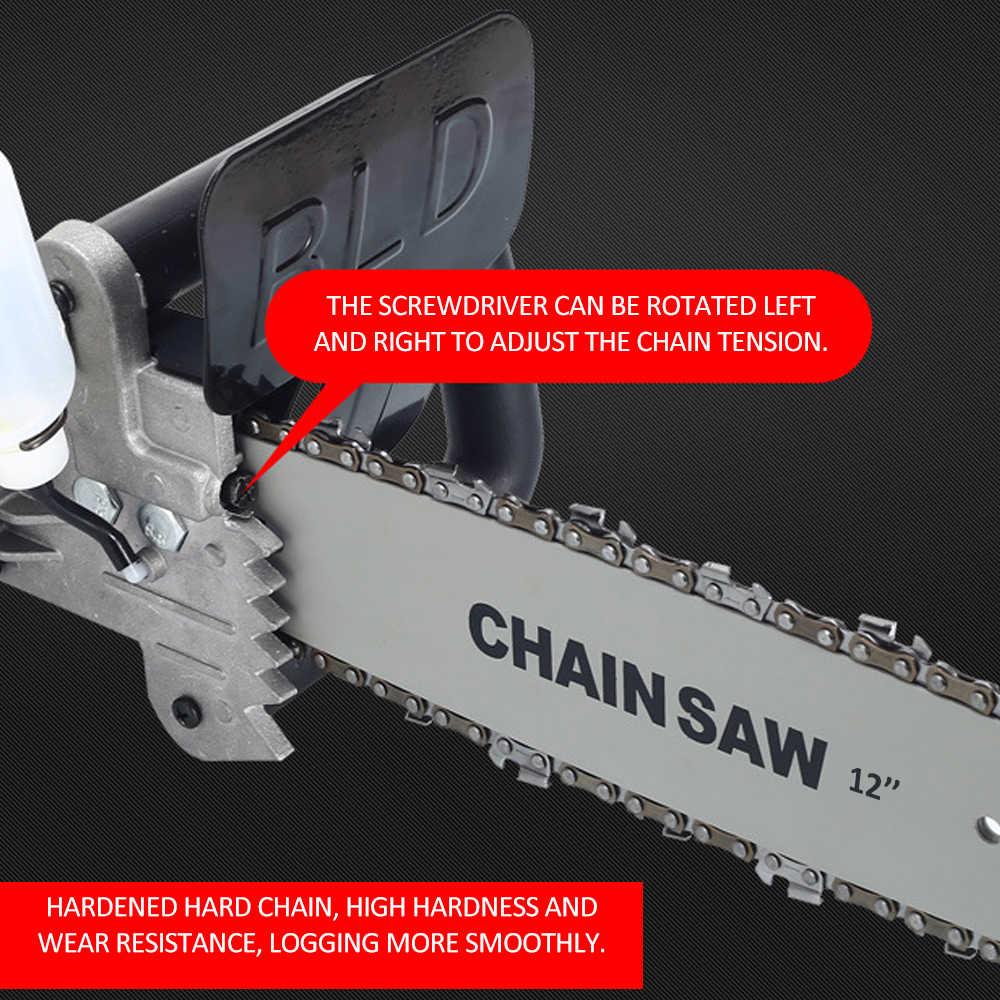 12 นิ้วเหล็กคาร์บอน Chainsaw JIG SAW Refit ชุดไม้เครื่องมือเปลี่ยนมุมเครื่องบดเป็นโซ่เลื่อย