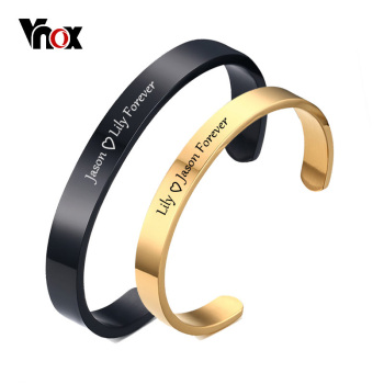 Vnox Free Engraving Personalized Couple Cuff Bracelets for Men Women Bangle Stainless Steel Classic Lover DIY Jewelry Gift vnox customize name quotes leather bracelets for men glossy stainless steel layered braided bangle personalized dad husband gift