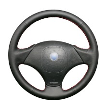 Hand Sew Black Genuine Leather Car Steering Wheel Cover for Fiat Albea 2002 Palio Weekend