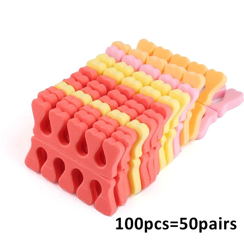 100 шт., разделители для пальцев ног, из мягкой пены, #3374