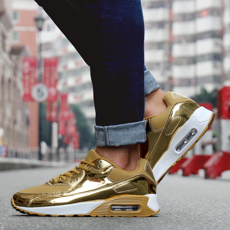 Men Women Air Cushion Sport Running Shoes Unsex Athletic Sport Trainers Gold Silver Jogging Walking Shoes Big Size Runners Cheap