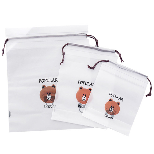 cartoon Bear Drawstring Bag Transparent travel organizer Shoes Storage Bag Clothes Packing travel accessories 5