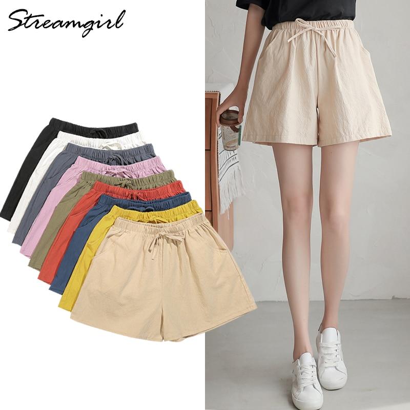 White Cotton Linen Shorts Women Summer 2020 Wide Leg Short Pants Elastic Waist Short Femme Summer Casual Shorts High Waisted