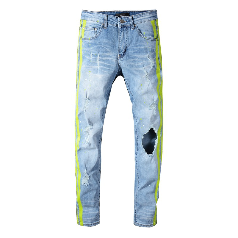 KIOVNO High Street Men's Ripped Destroyed Jean Pants Neon Yellow Color Patchwork Denim Trousers For Male Size 28-40