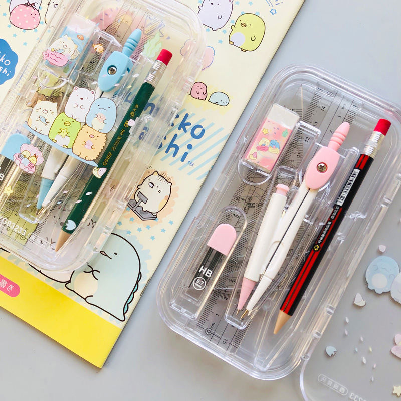 8 In 1 Cute Cartoon Sumikko Gurashi Compass Set Drawing Ruler Eraser Pencil Geometry Protractor For Students School Office
