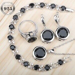 Image 1 - 黒ジルコン 925 シルバーブライダルジュエリーセットイヤリング石/リング/ペンダント/ネックレス/ブレスレットセットのための女性無料ギフトボックス